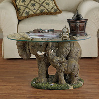 Elephant s Majesty Glass-Topped Cocktail Table - EU30543                       - Design Toscano