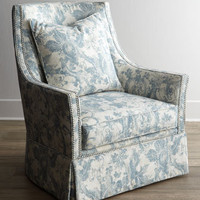 Massoud Mystic Blue Skirted Chair