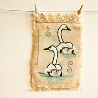 Tundra Swans Embroidered Painting - Bird Wall Decor