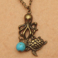 Octopus Turtle and Green Turquoise Necklace by turquoisecity