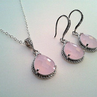 Spring Pink wedding Necklace and Earrings Set - wedding Jewerly, drop earrings, dangle earrings, pink pendant necklace