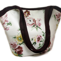 Shoulder Bag - Spring Bag - White Floral Cotton with Bordeaux Woven Fabric