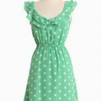 Afternoon Engagement Ruffle Dress In Green | Modern Vintage New Arrivals