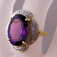 Estate 4ct Amethyst Diamond 14K Ring Size 6
