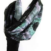 Batik Black And Colorful Cotton Scarf / by mediterraneanlights