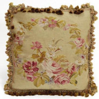 French Antique Green Rose Aubusson Pillow
