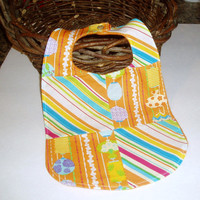 Spring Easter Orange Stripe Patchwork Baby Bib by BrennysBibbies