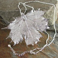 Maple Leaf Necklace Sterling Silver Chain Real by DorotaJewelry