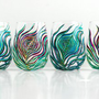 Regal Peacock Stemless Wine Glasses-Set of Four
