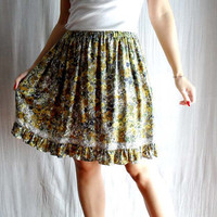 Bohemian knee circle skirt mustard flowery print by AliceCloset