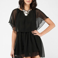 Giselle Chiffon Dress in Black :: tobi