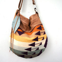 Agatha//in Pendleton Wool Blanket with Brown Leather and Two-Way Strap