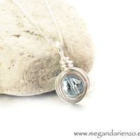 Aquamarine / March Birthstone Necklace by megandarienzo on Etsy