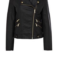 Jackets &amp;amp; Coats | Black Gold Trim PU Biker  | Oasis