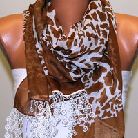 Leopard  Scarf   Cotton Scarf Headband Necklace Cowl by fatwoman-s05