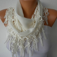 Off White Scarf    Pashmina Scarf   Headband Necklace by fatwoman-s09