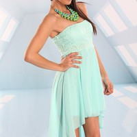 Mint Chiffon Strapless High Low Dress with Floral Lace Top