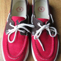 Ralph Lauren Polo red corduroy brown microfiber LILIA deck or tennis shoes 8.5 B