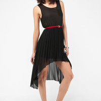 Pleat It Hi-Low Dress in Black :: tobi