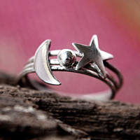 Stackable Set of Three Rings - Sterling Silver Stack Rings - Moon Sun and Star Set of Rings - Made to Order