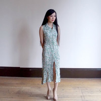 vintage floral dress / sleeveless floral dress / 90s dress / sleeveless dress