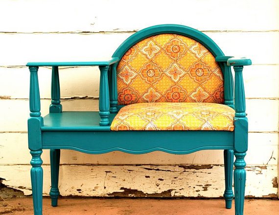 Bright Teal Sunshine Vintage Writing Desk by FriendlyForestFarms