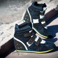 Fabiola-01 Denim High Top Studded Sneaker Wedge (BLACK) - Shoes 4 U Las Vegas
