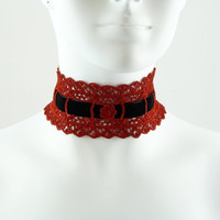 Red & Black Choker - Lolita Lace Necklace with Velvet - Burlesque Circus Chocker - Gothic, Goth, Vampire, Pirate Costume, Lingerie Jewelry