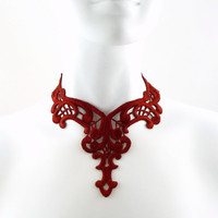Deep Red Lace Choker Necklace - Medieval, Victorian, Gothic, Goth, Vampire, Costume, Chocker, Women, Jewelry