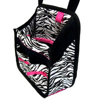 Hanging Car Organizer in zebra print with pink