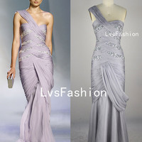 Mermaid One Shoulder Sweetheart Neckline Sexy Chiffon Long Silver Celebrity Dresses, Party Dress, Prom Dress, Sexy Dress