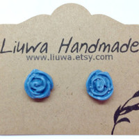Denim Blue Rose Earrings, Surgical Stainless Steel Posts, Denim Flower Earrings