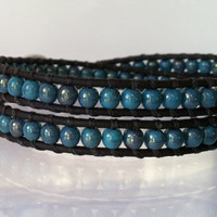 Beaded Wrap Bracelet Marbled Blue Luster by Jennasjewelrydesign