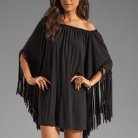 Indah Adara Fringe Sleeve Hippie Tunic in Black from REVOLVEclothing.com