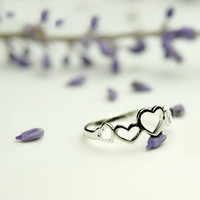 925 Silver Hollow Heart Rings