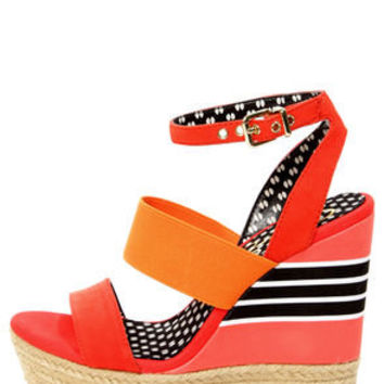 Jessica Simpson Cosset Tomato Red Multi Platform Wedge Sandals