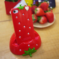 Sweet Strawberry Rhinestones Case For Iphone 4/4s