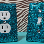 SET Chunky TEAL Glitter Swichplate Outlet Covers ALL Styles