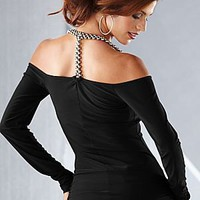 Beaded t-back coldshoulder top from VENUS