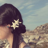 Mermaid Hair - Double White Knobby Starfish Barrette by dreamsbythesea