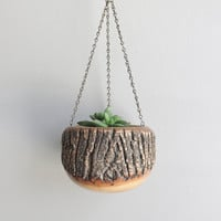 vintage wooden hanging planter