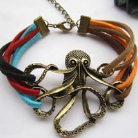 octopus bracelet---antique bronze octopus pendant  octopus bracelet& colorful rope chain