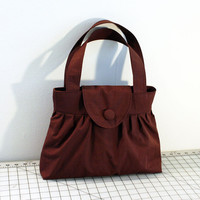 Pleated Handbag with Flap Closure in Chocolate Brown