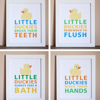 Bathroom Art Little Duckies Choose Two 8x10 by HopSkipJumpPaper