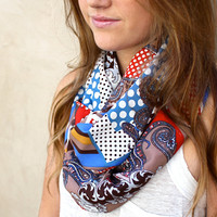 Polka Dot Circle Scarf, Paisley Scarf, Eternity Scarf, Infinity Scarf, Blue, Red, Brown, White