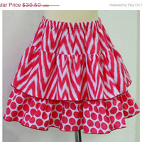 ON SALE Spring Fashion Skirt / Pink Chevron and Polkadot  Mini Skirt / Tiered Skirt / Ready to Ship