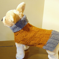 Dog Sweater Hand Knit  Rust Grey Checkerboard Small Wool by jenya2