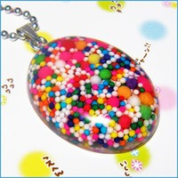 Rainbow Cupcake Sprinkles Necklace