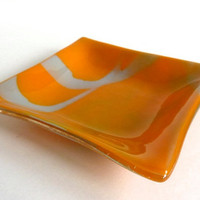 Fused Glass Dish in Dusky Orange