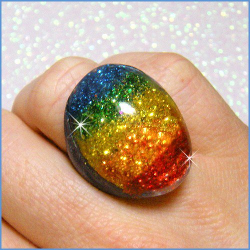Raving Rainbow - Solid Resin Ring - Size 8